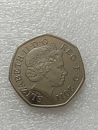 50p coin badminton London Olympic Games 2011.