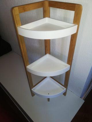 Estanteria esquina baño/cocina de bambú