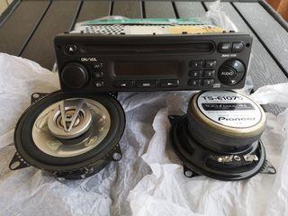 Radiocasete y altavoces