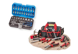 Carraca cabezal giratorio + Bolsa herramientas