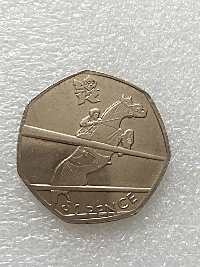 50p coin equestrian London Olympic Games 2011.