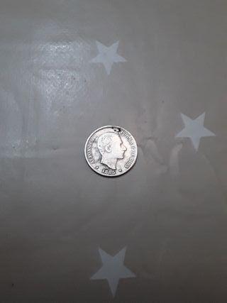 monedas. 10 centavos de peso de plata de 1885.