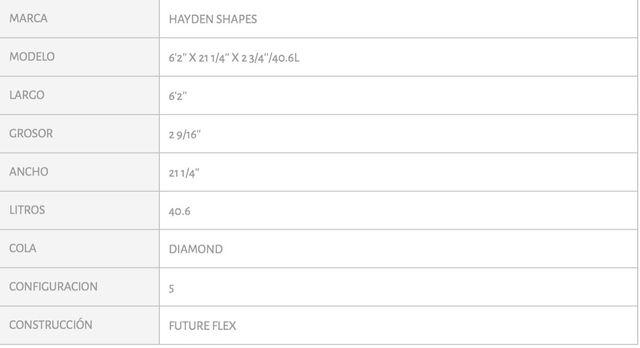 "Tabla de surf Hayden Shapes Plunder 6""2"
