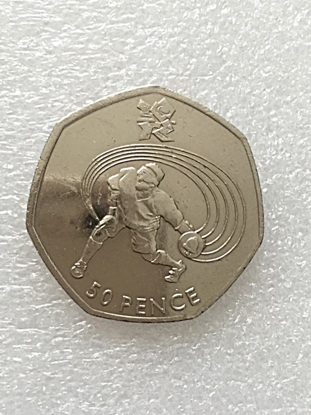 50p coin goal ball London Olympic Games 2011.