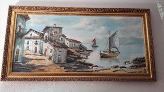 pintura con marco de madera dorado