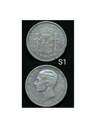 MONEDA DE PLATA DE 5PESETAS 1879 EM M ALFONSO XII