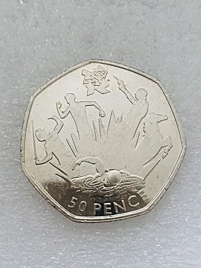 50p coin pentathlon London Olympic Games 2011.