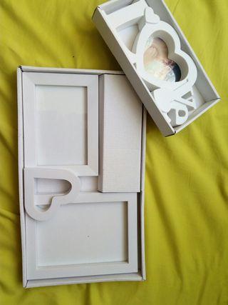 conjunto marcos foto blanco love boda
