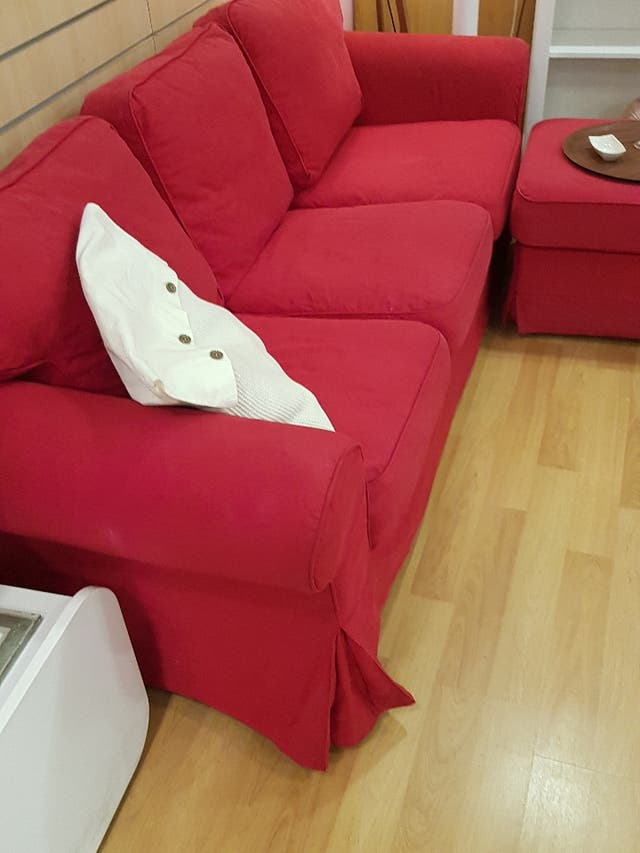 sofa ikea 3 plazas con puf opcional