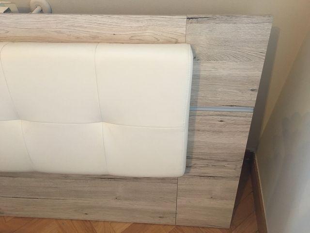 Cabecero cama mateimonio madera y piel