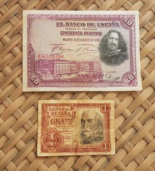 Lote de billetes antiguos españoles