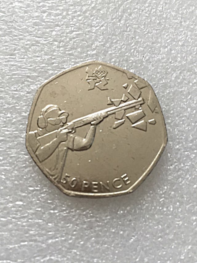 50p coin shooting London Olympic Games 2011.