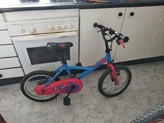 Bicicleta infantil con ruedines para aprendizaje