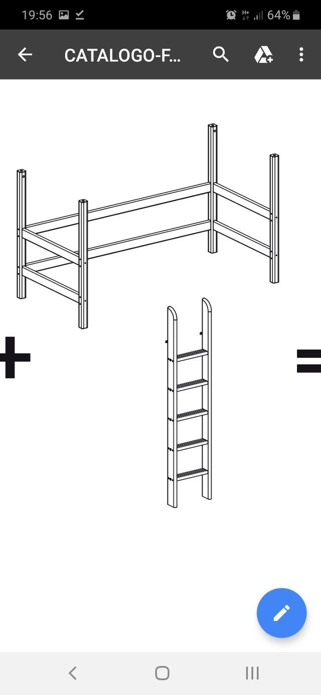 Flexa Estructura Cama Alta 140 Escalera Barras De Segunda