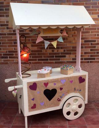 Carrito madera candy bar boda, comunión, bautizo..