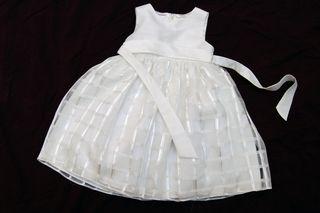 Vestido blanco de fiesta para niña de 3 años