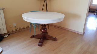 Mesa redonda madera maciza extensible restaurada