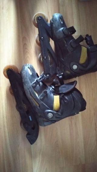 4 patines tallas 38 y 40 mas rodilleras muñequeras