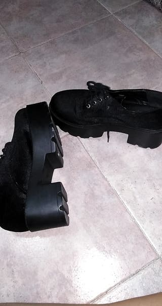 zapatos negros tacon plataforma