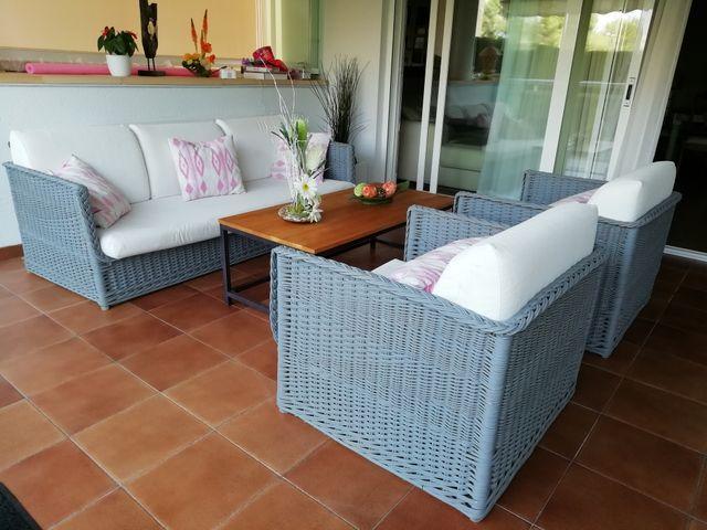Conjunto Muebles De Terraza De Mimbre De Segunda Mano Por