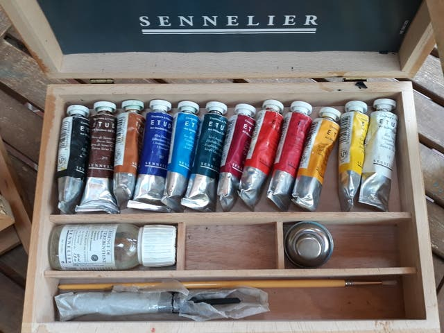 Maletín de pinturas al óleo con paleta +CABALLETE