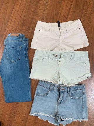 Pack shorts + vaqueros de segunda mano por 10  </p> </div> <div class=