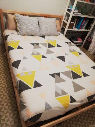 Cama doble 140x200 cm + somier + colchón