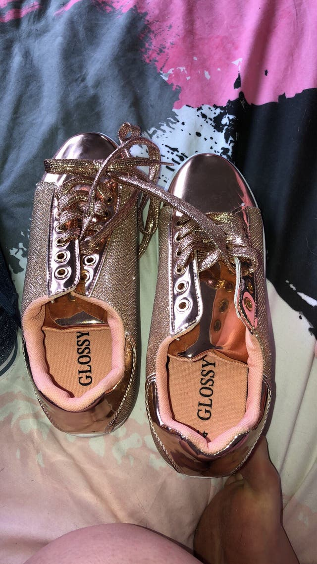 Rose gold trainers size 7