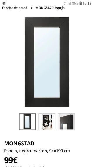 espejo muy grande de Ikea marrón negro 94x190