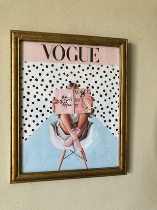 Cuadro Vogue dorado 27 x 33
