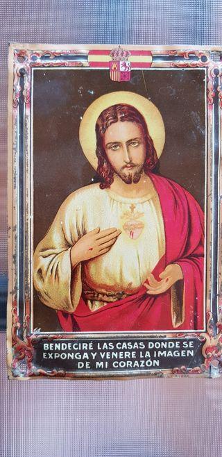 Chapa Corazón de Jesús para puerta casa, años 20.