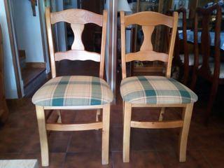 sillas de pino reforzadas tapizadas