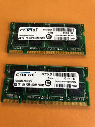 Memoria RAM 4 Gb Crucial DDR2 SO-DIMM 256Mx6
