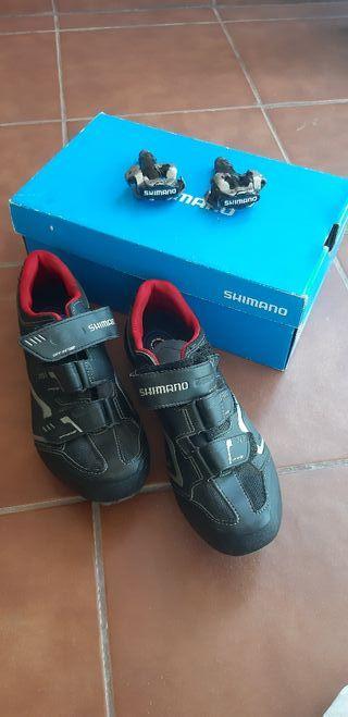pedales automaticos más zapatillas Shimano