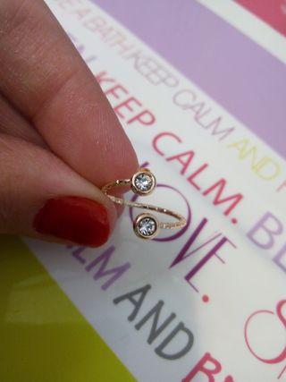 NUEVO anillo doble pedrería brillante