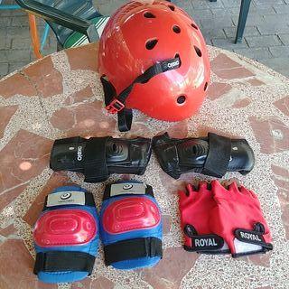 Casco guantes rodillera muñequeras