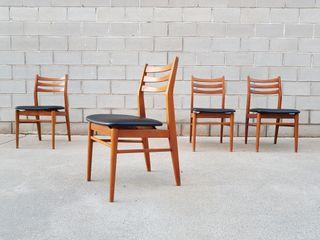 Set 4 Sillas estilo Escandinavo. Francia, 60s.