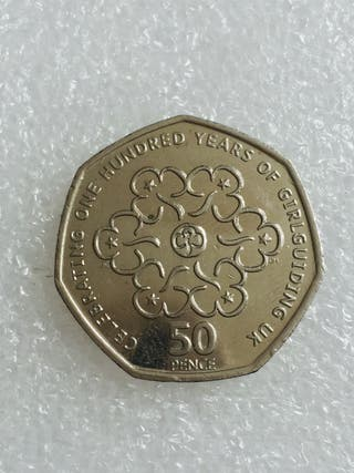 50p coin celebrating 100 years of girl guidi