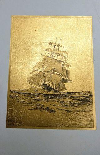 Lamina grabado velero dorado