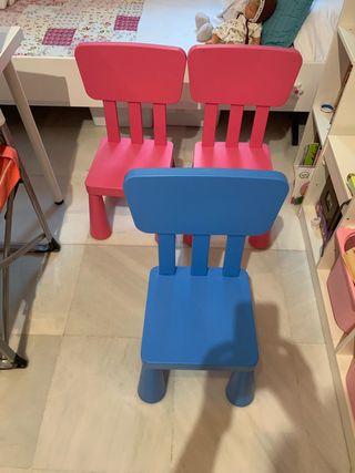 Sillas (3) niño Ikea plástico