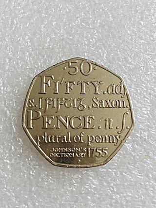 50p coin Johnson dictionary 2005.