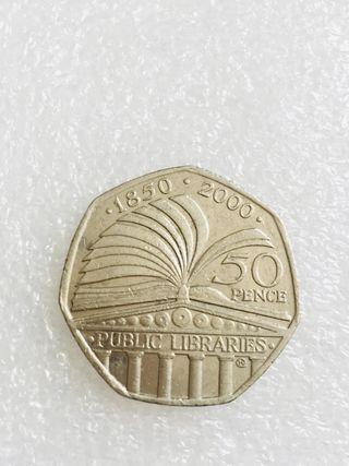 50p coin public libraries 2000.
