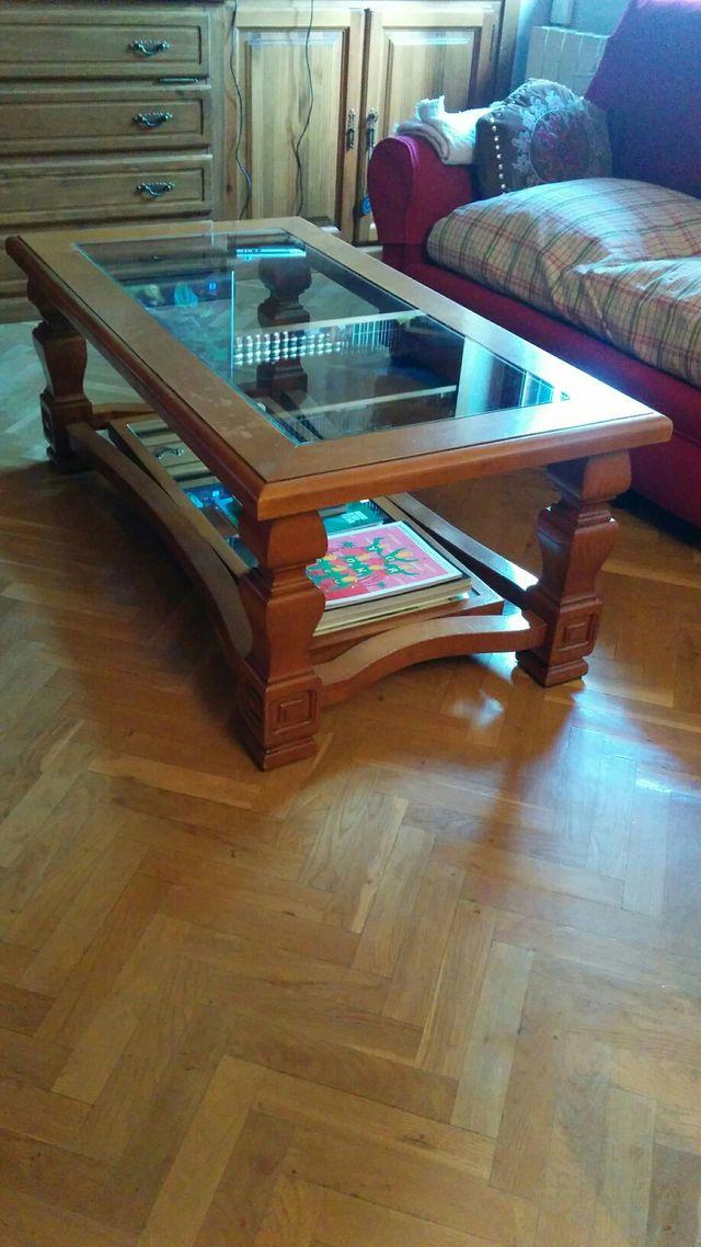 Mesa salón de centro, madera, cristal, espejo.
