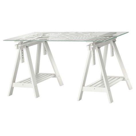 2 caballetes y tablero de cristal Ikea