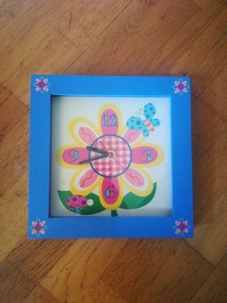 Reloj de pared infantil flor