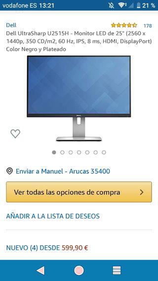 monitor dell 25 pulgadas 2k
