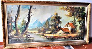 Cuadro enorme antiguo oleo/lienzo