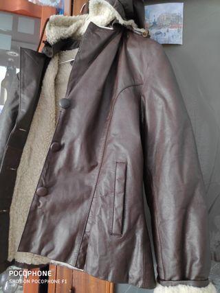 Abrigo 100% cuero y lana