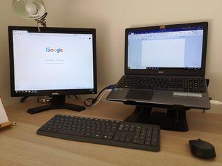 Portátil Acer más monitor 21' Dell VGA