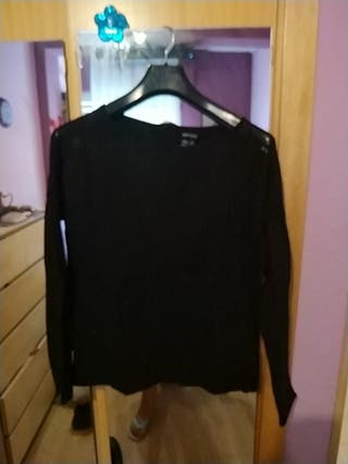 camiseta negra manga larga talla S